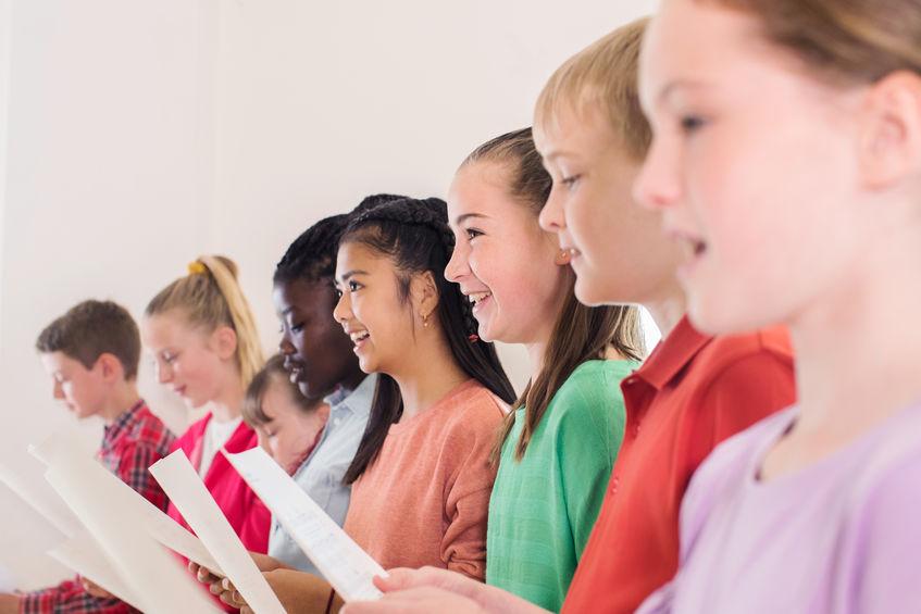 Foto de un coro de niños en Zaragoza