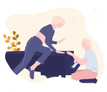 Adulto en clase de piano