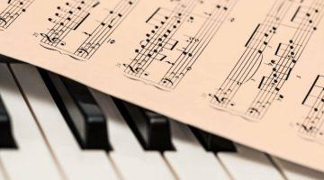 Drawing of a piano music score