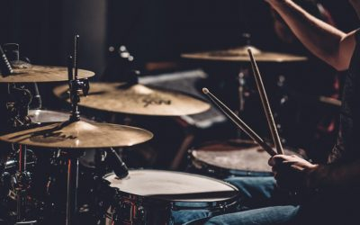 Picture of a drumset played by a teacher from brussels music college